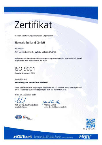 Biowerk Sohland Zertifikat - ISO 9001